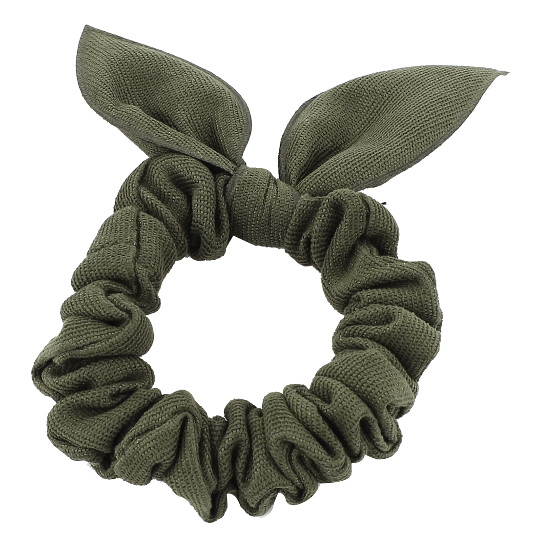 Girls Army Green Rabbit Ear Head Shaped Elastic Hair Tie Hairband Scrunchie Ponytail Holder