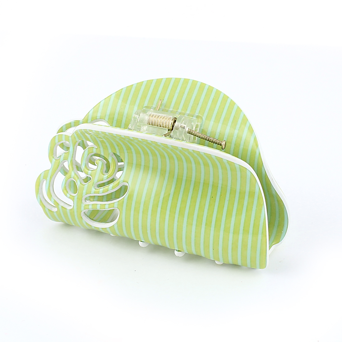 Lady Hairstyle Toothed Spring Loaded Hollow Out Flower Blue Green Stripes Pattern Plastic Hairclip Hairclaw Hair Claw Clip