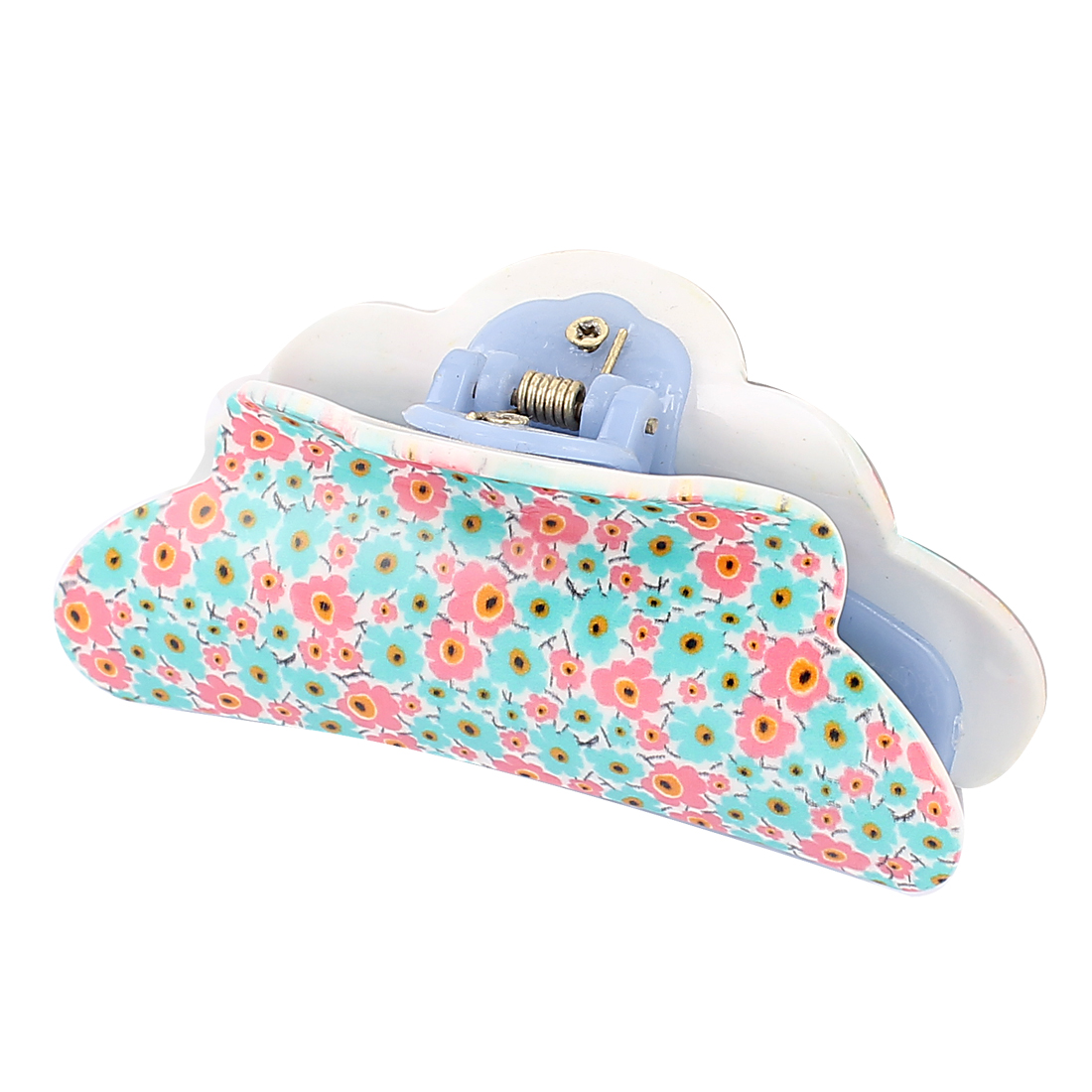 Women Hairstyle Toothed Spring Loaded Teal Pink Flower Print Plastic Hairclip Hairclaw Hair Claw Clip Blue