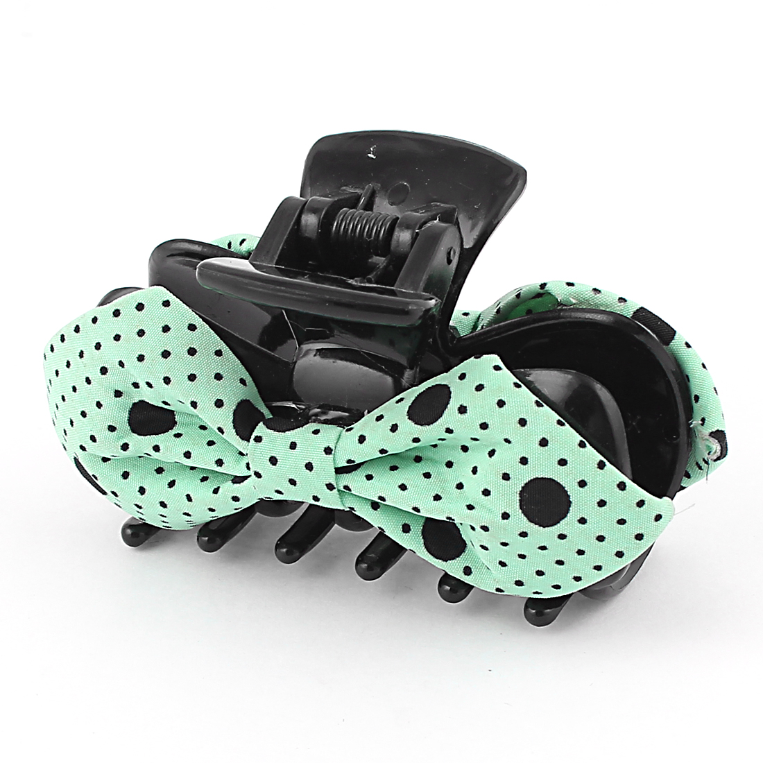 Women Hairstyle Spring Loaded Dot Print Teal Bowknot Decor Plastic Hairclip Hairclaw Hair Claw Clip Black