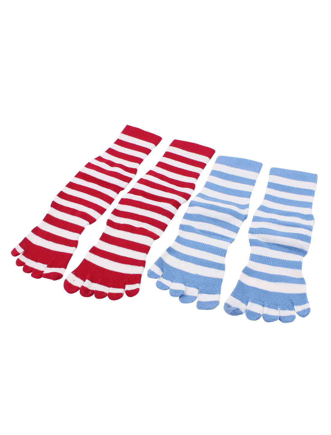 2Pairs Stripes Print Elastic Seperate Full Toe Anckle High Socks Sockens Red Blue for Lady