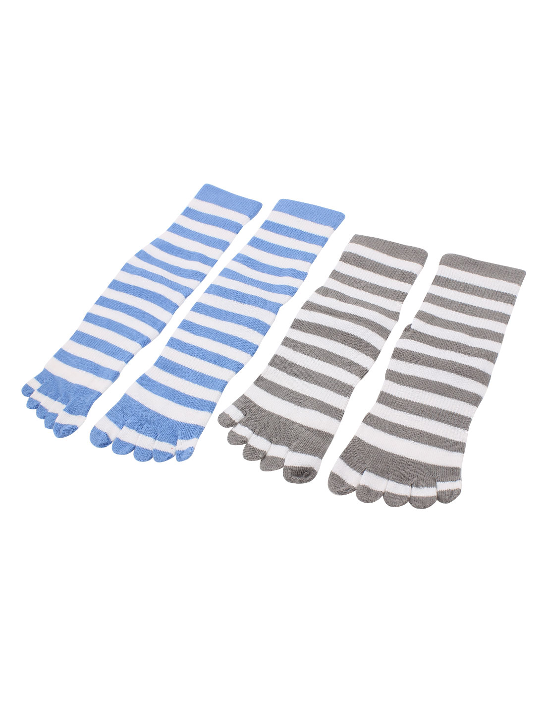 2Pairs Stripes Print Elastic Seperate Full Toe Anckle High Socks Sockens Gray Blue for Lady