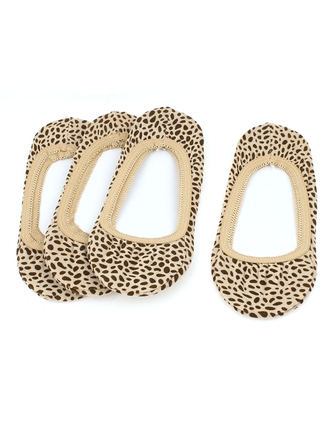 4Pairs Leopard Prints Cotton Blends Elastic Casual Invisible Low Cut Heels Loafer Liner Boat Footie Socks Socken Khaki for Woman