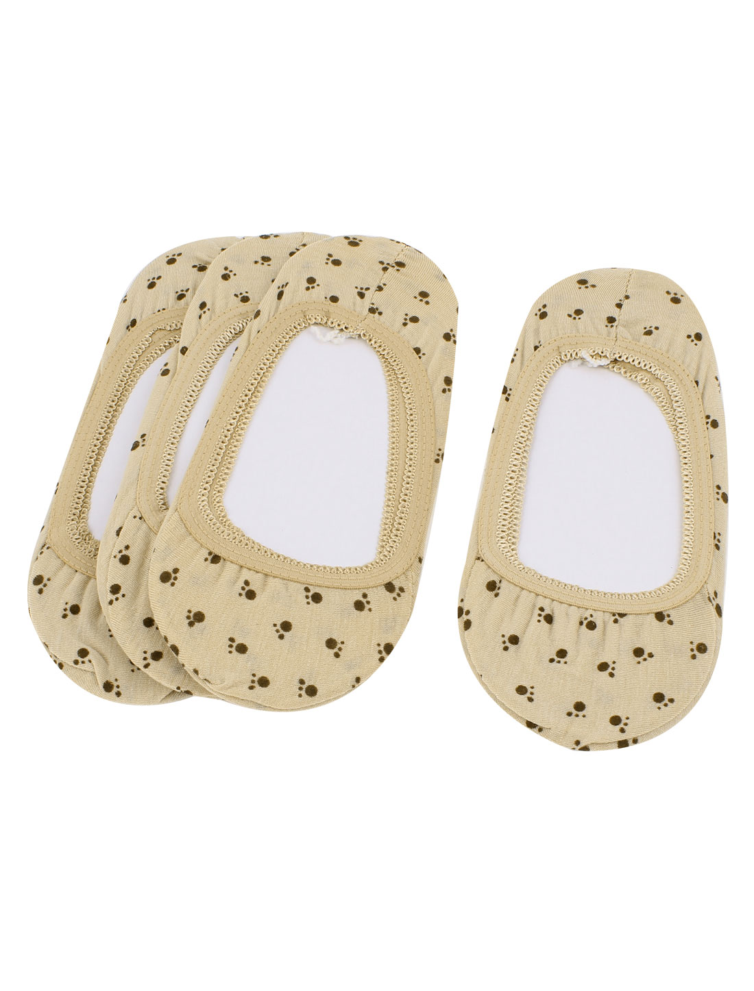 4Pairs Footprint Pattern Stretch Ballet Footie Invisible Low Cut Heels Loafer Liner Boat Socks Socken Khaki for Lady