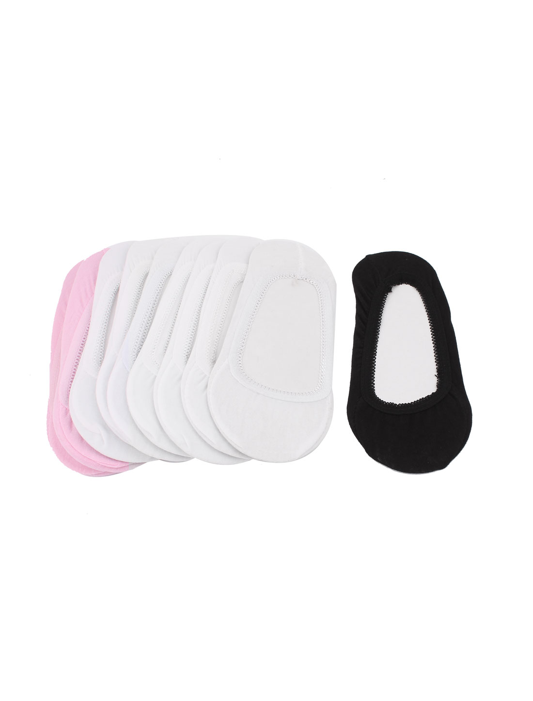 10 Pair Black Pink White Soft Cotton Blends Stretchy Slipper Heels Footsie Boat Socks for Ladies