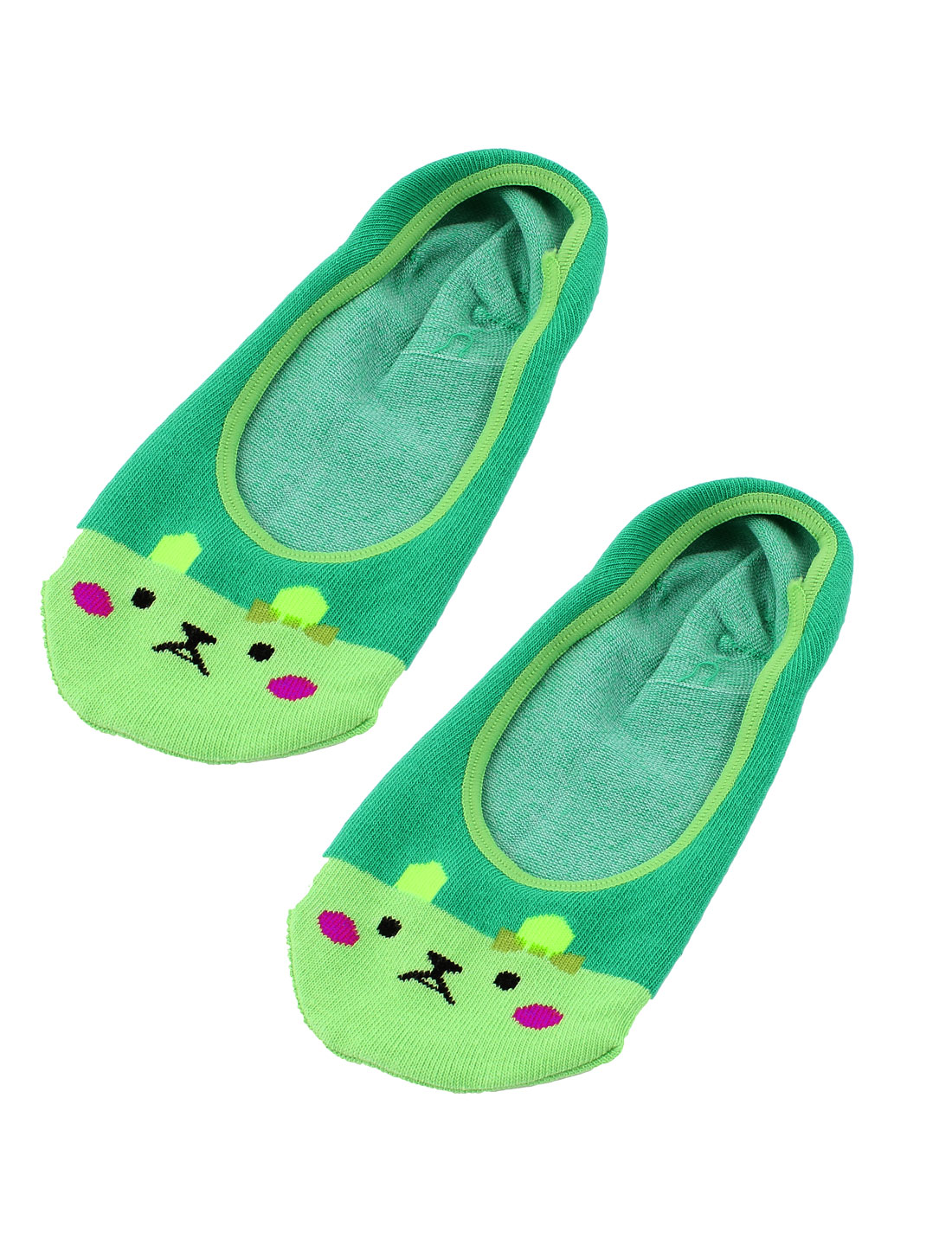 Pair Cartoon Print Green Cotton Blends Elastic Ballet Invisible Footies Low Cut Liner Boat Socks for Women