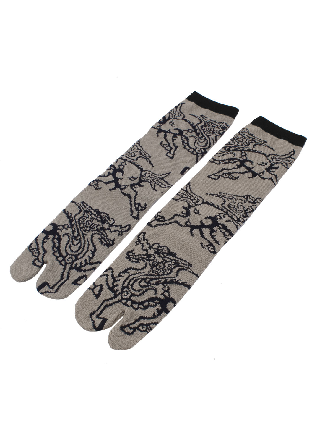 Pair Black Dragon Printed Khaki Cotton Blends Elastic Cuff Ankle High Hosiery Feet Toe Socks for Men