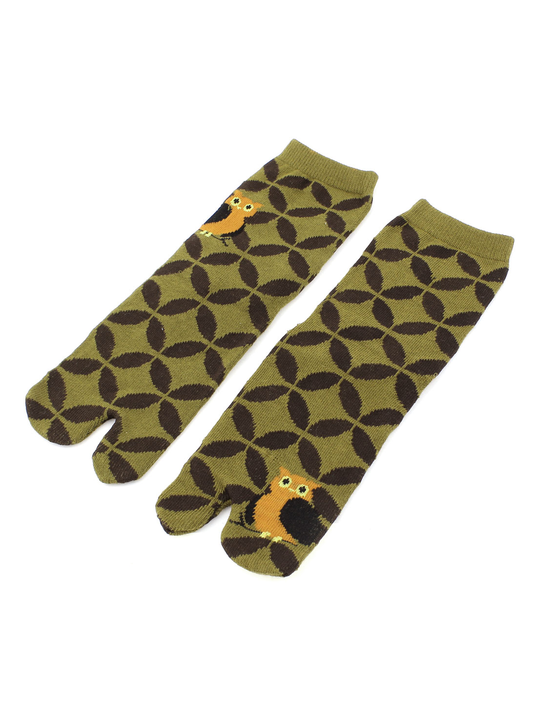 Pair Circle Owl Print Elastic Cuff Ankle High Hosiery Funny Feet Toe Sockings Socks Olive Green Brown for Women