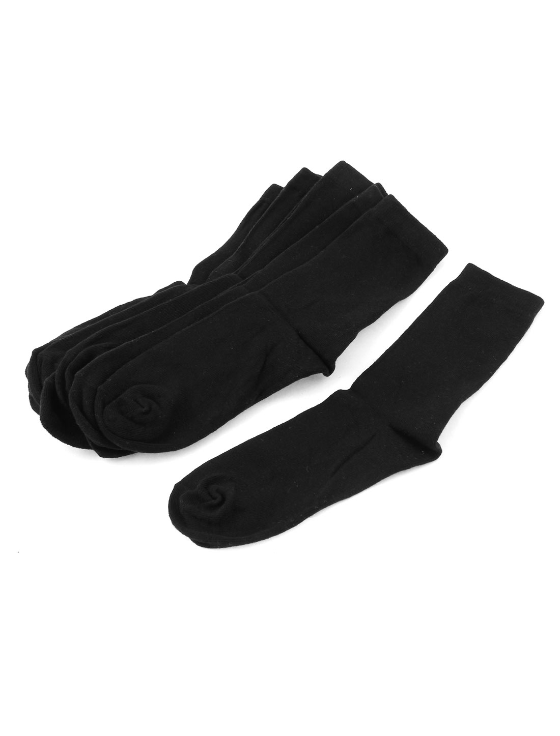 5Pairs Black Cotton Blends Elastic Cuff Casual Hosiery Ankle High Crew Socks for Man