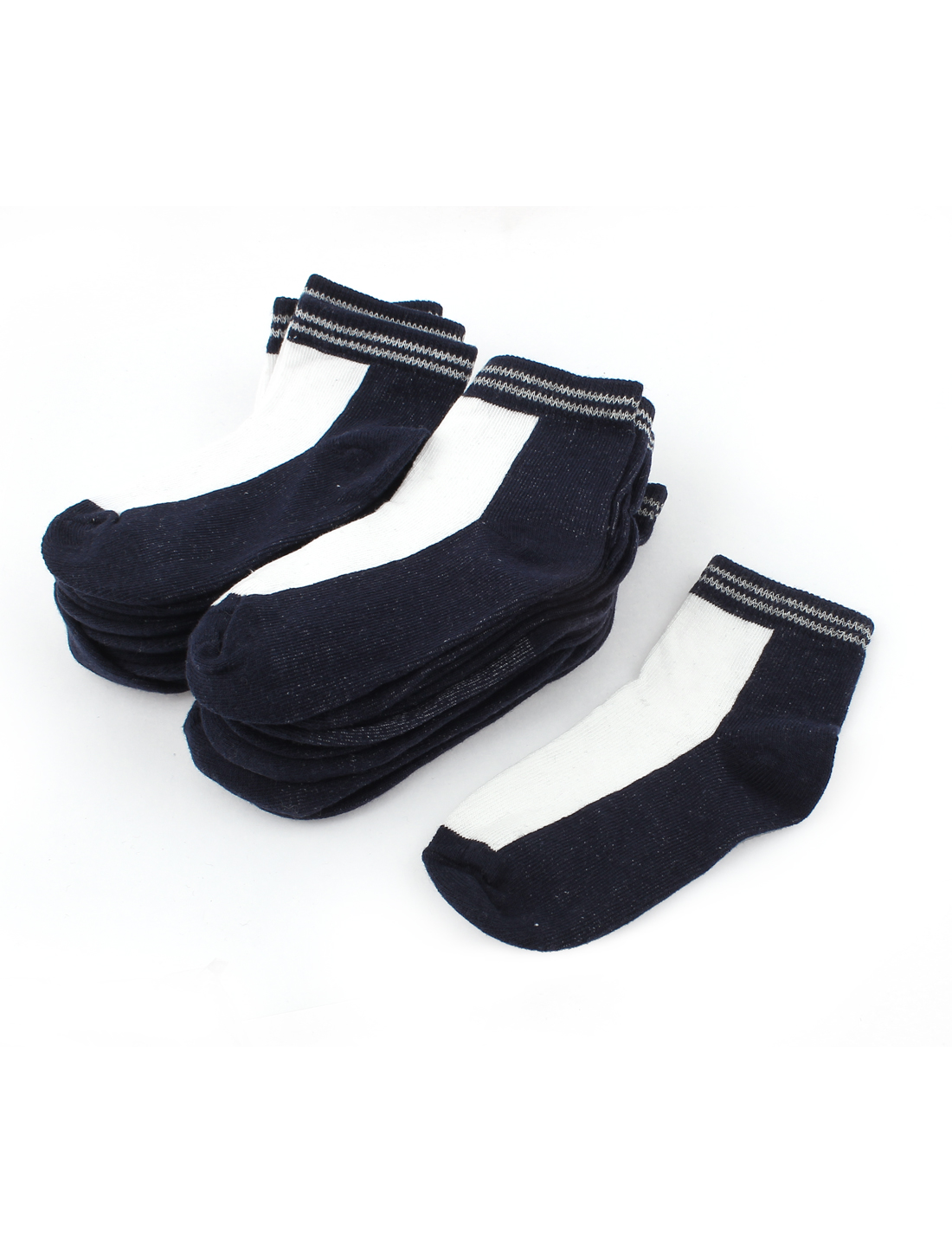 10Pairs Casual Dark Blue White Stretch Cuff Ankle Short Low Cut Socks Sockens for Boys
