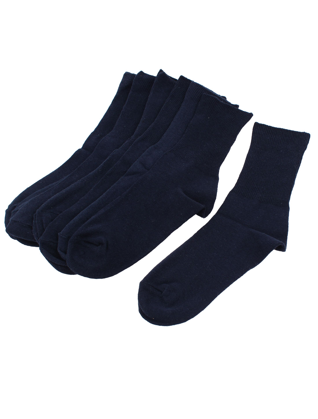 5Pairs Winter Business Casual Solid Color Cuff Ankle High Elastic Hosiery Socks Sockens Dark Blue for Men