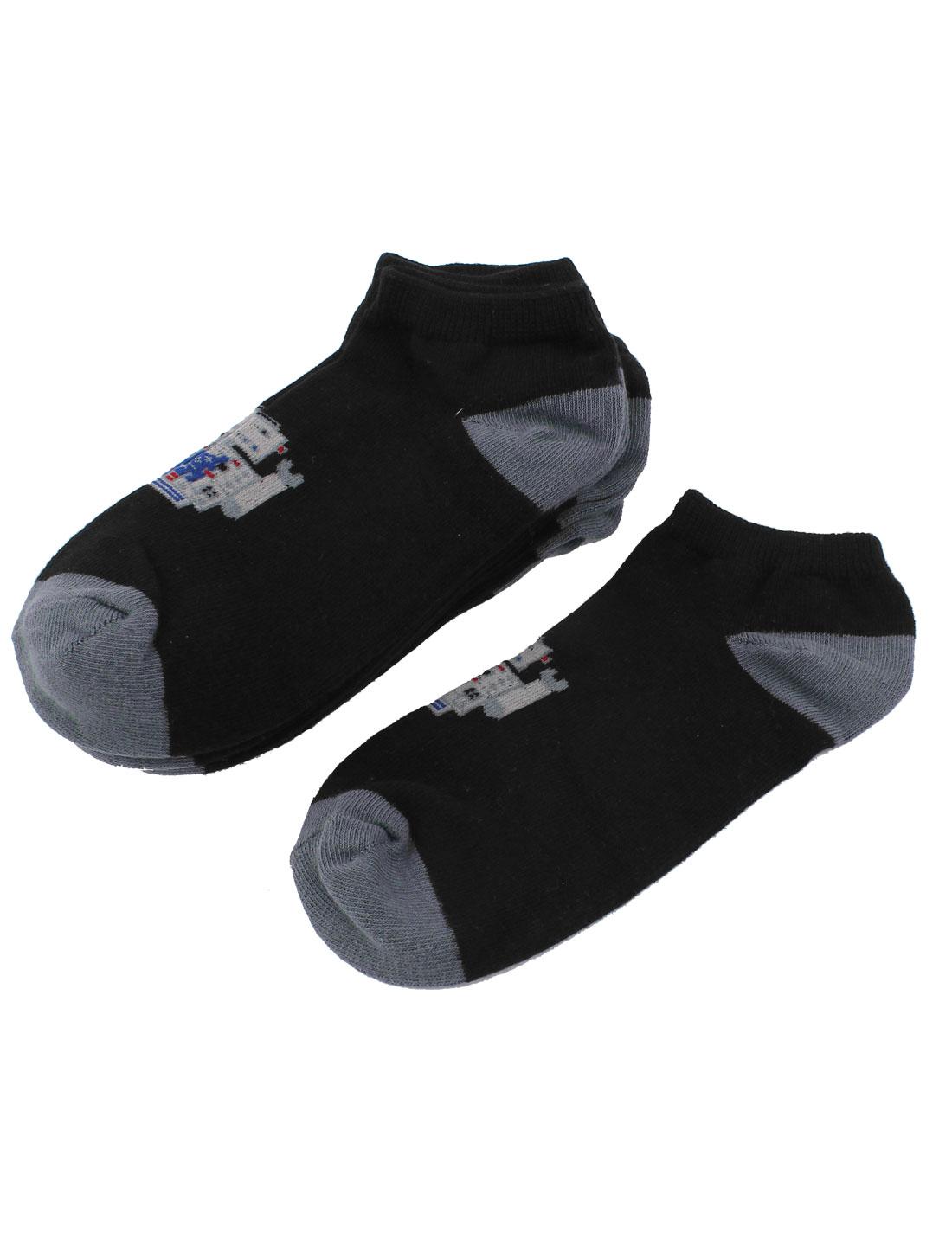 5Pairs Black Cotton Blends Elastic Cuff Short Low Cut Ankle Hosiery Socks Sockens for Boys