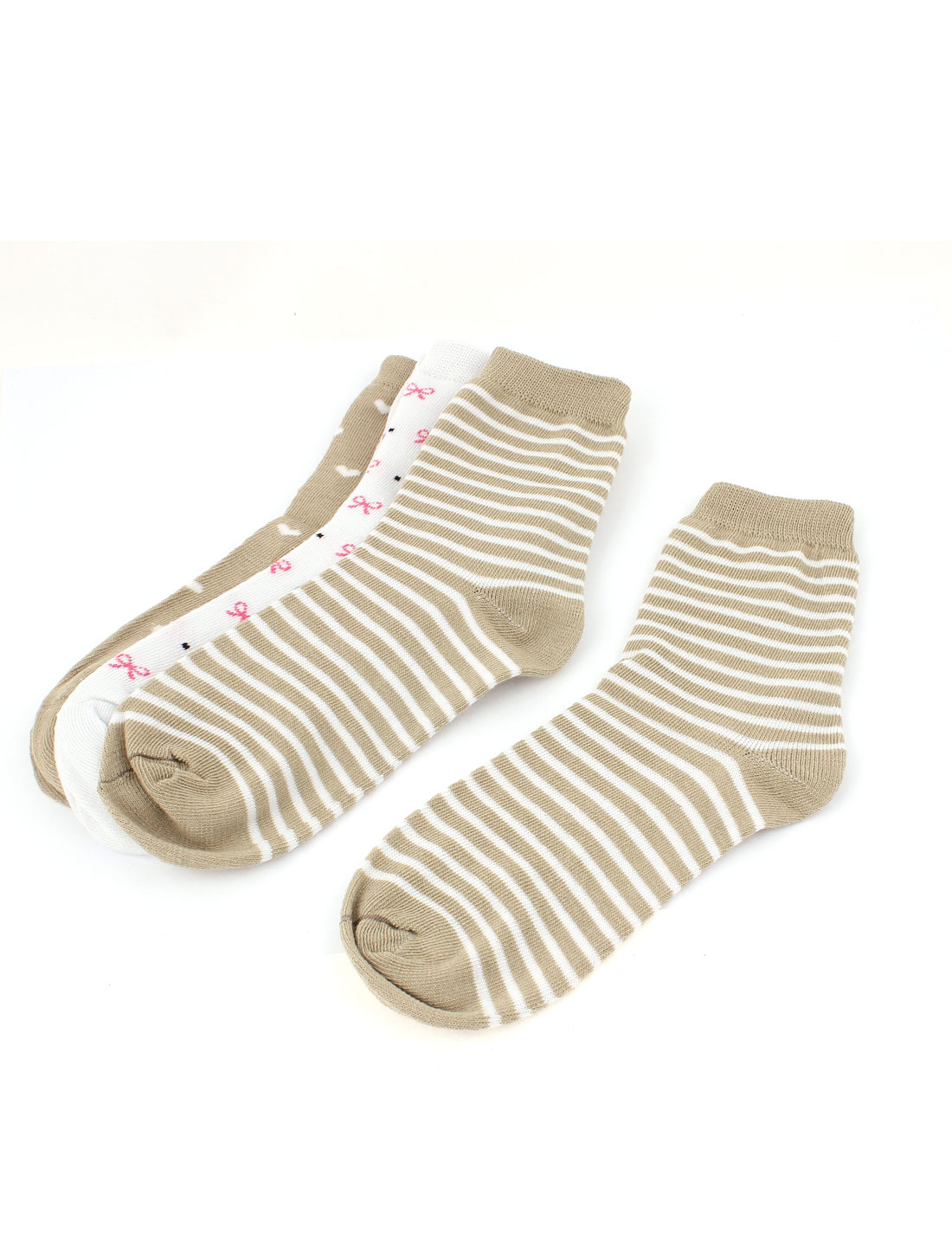 3Pairs Khaki White Cotton Blends Elastic Casual Ankle High Heels Hosiery Socks for Lady