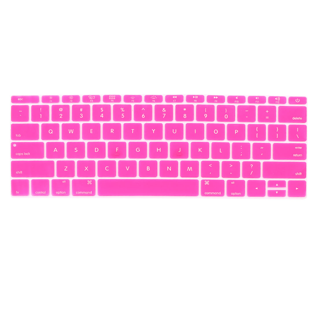 Laptop Rubber Protective Shell Keyboard Skin Cover Fuchsia for MacBook 12""