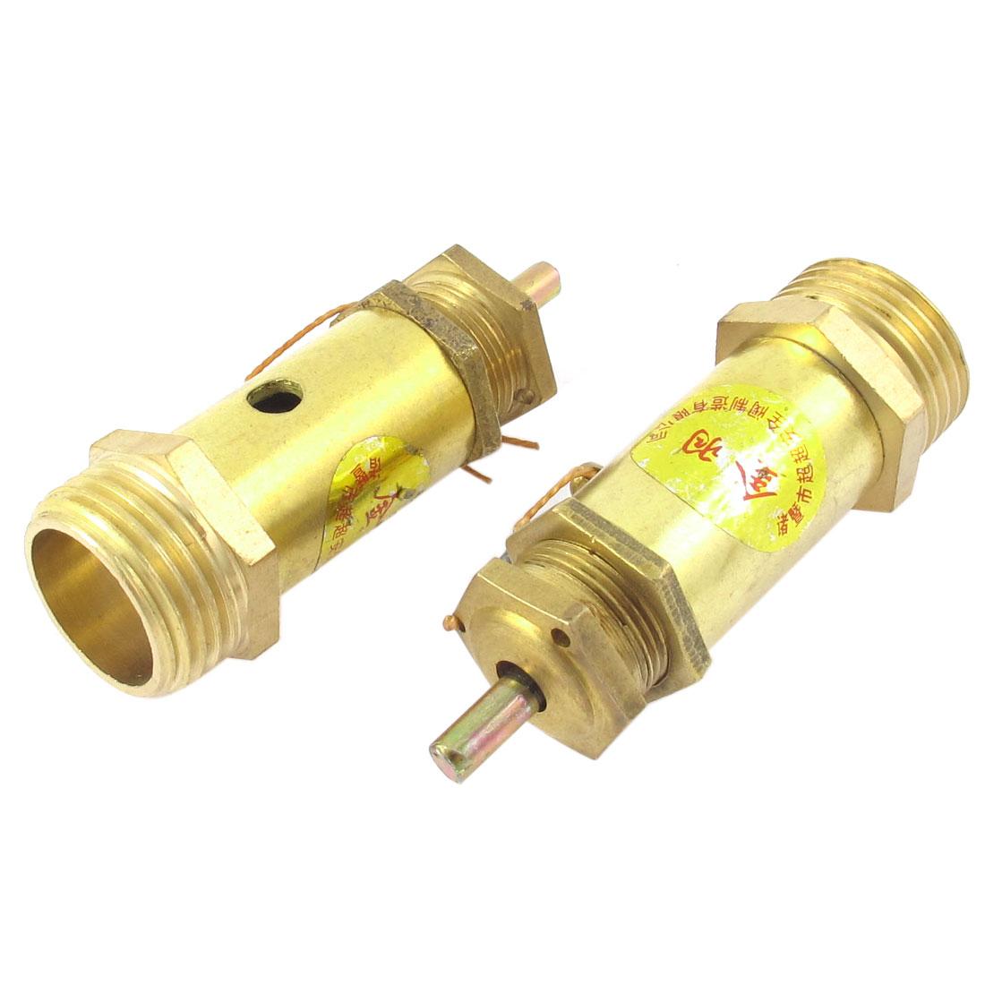 Metal Air Compressor Male Thread Safe Pressure Relief Valve Gold Tone