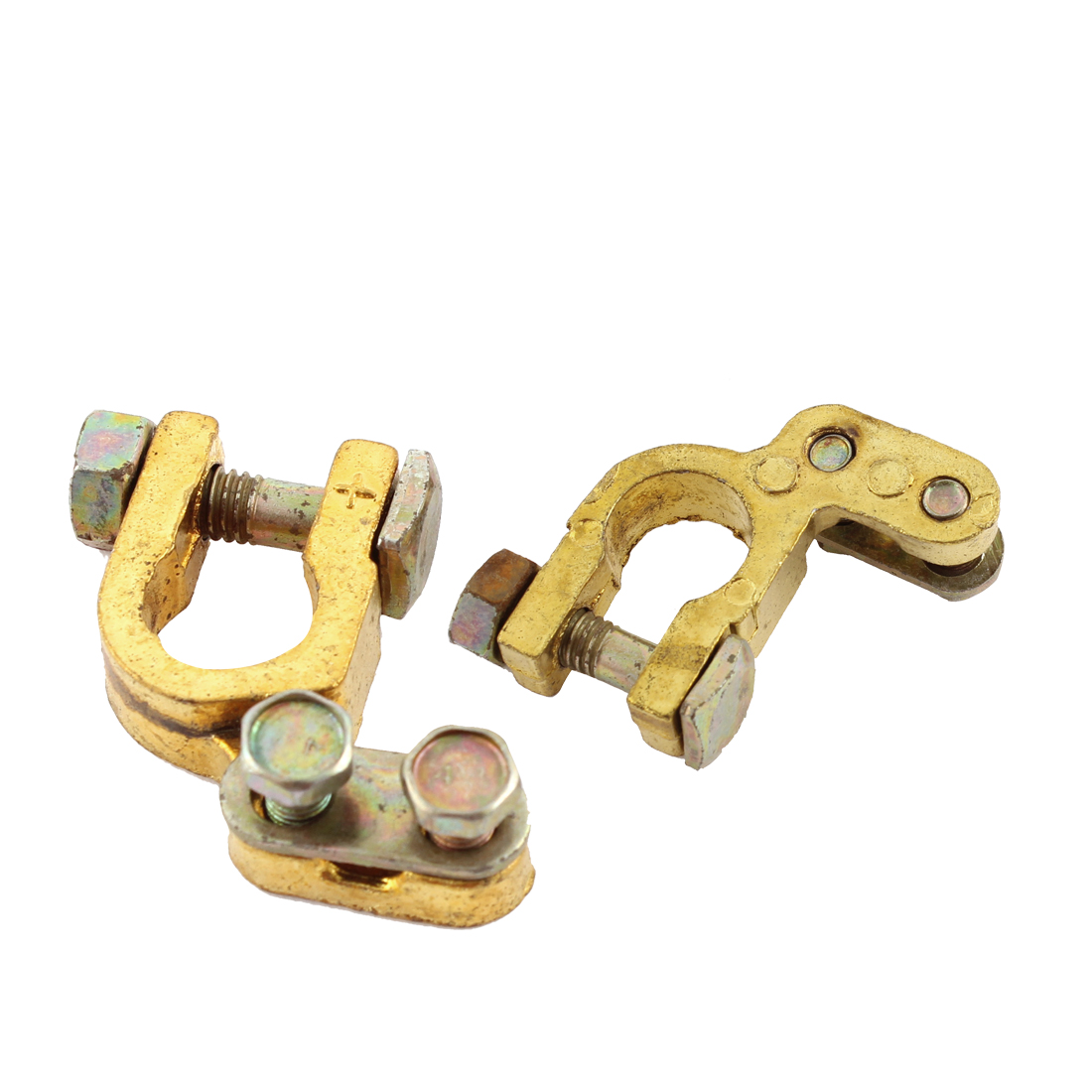 Metal Replacement Auto Car Battery Terminal Clamp Connector Gold Tone