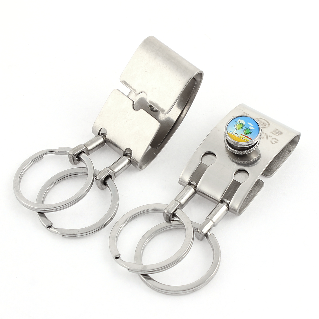 2 Pcs Metal Double Rings Safe Key Chain Keyring Holder Silver Tone