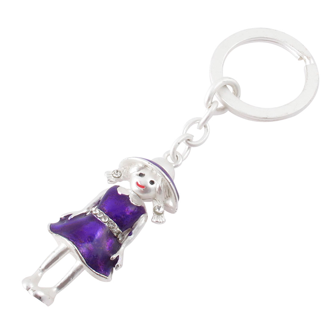 Metal Dual Sides Girl Doll Pendant Keychain Keyring Purple Silver Tone