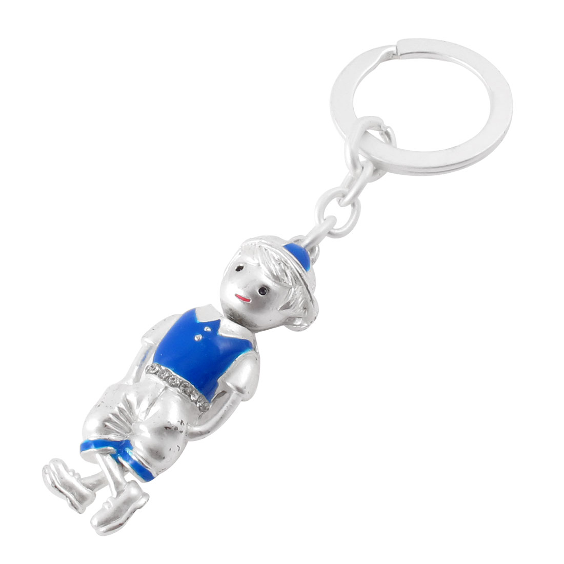 Metal Pendant Style Boy Key Ring Connector Key Chain White Blue