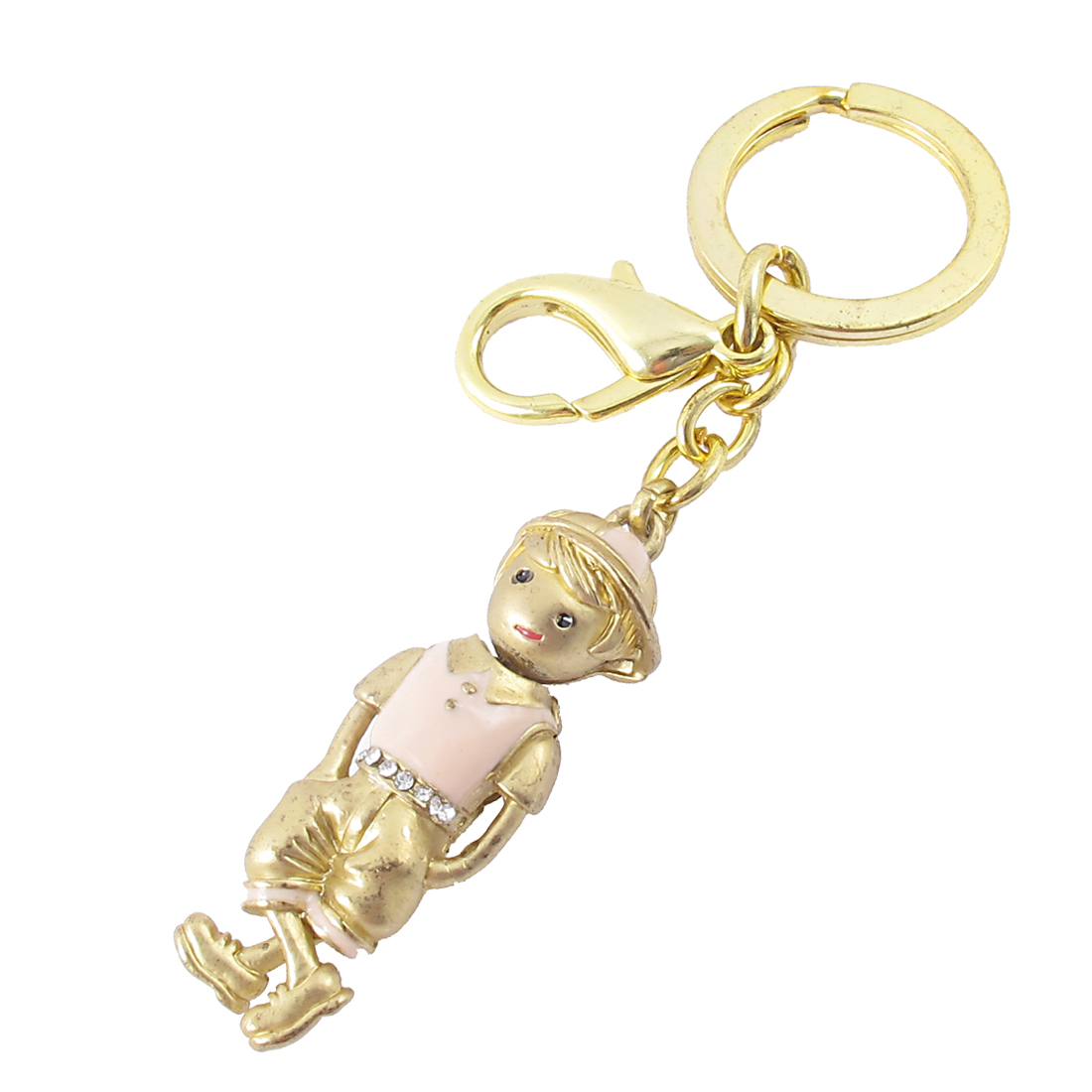 Pink Gold Tone Metal Figure Keychain Boy Pendant Keyring for Gift