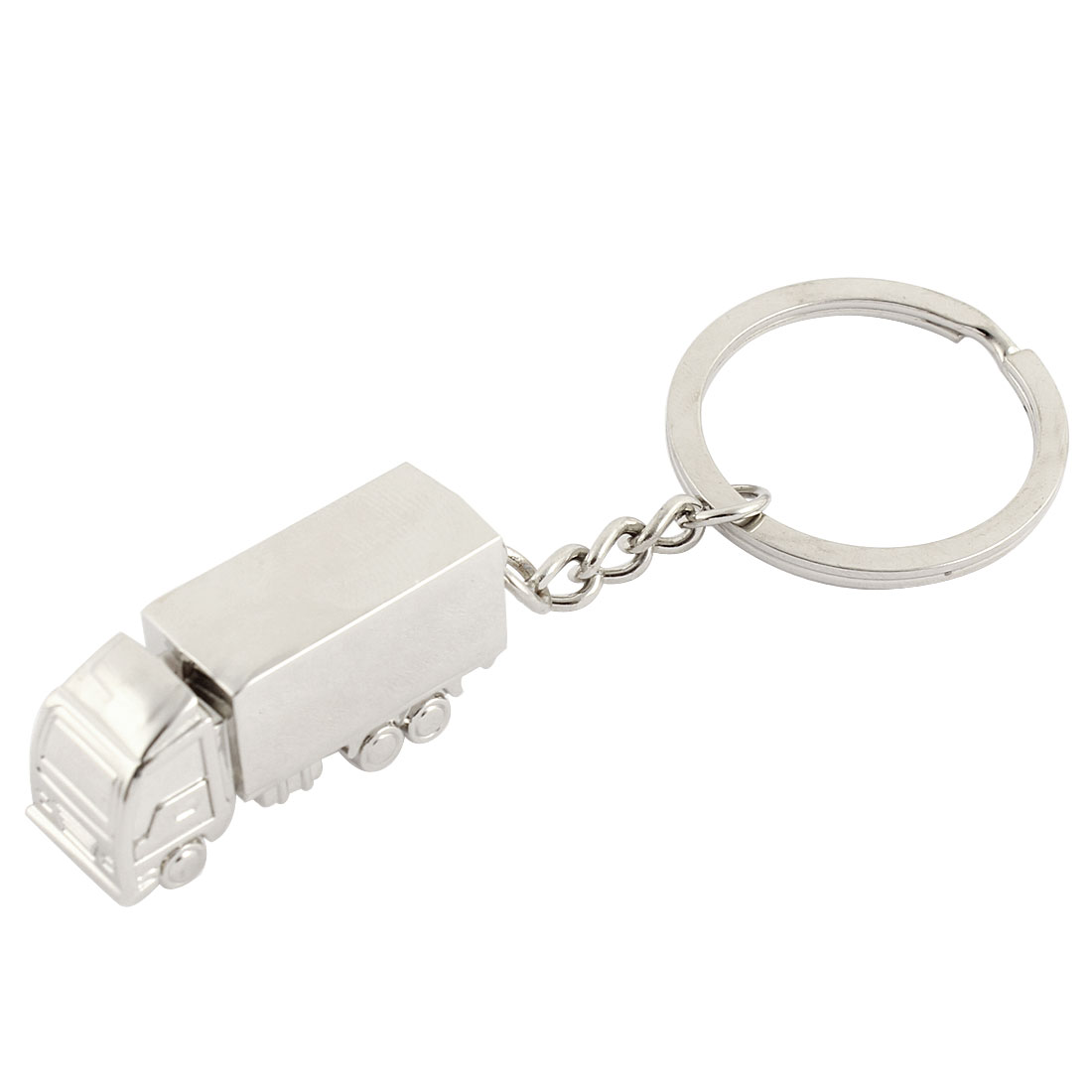Metal Lorry/Truck Pendant Key Ring Gift Keychain Holder Silver Tone