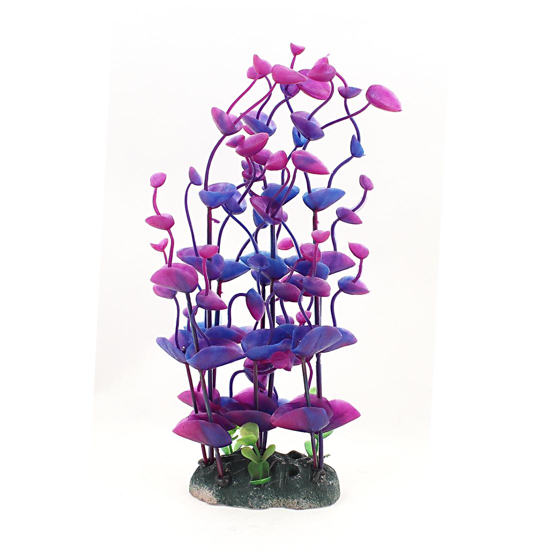 "8.7"" Artificial Plastic Plants Purple Petal for Water Fish Tank"