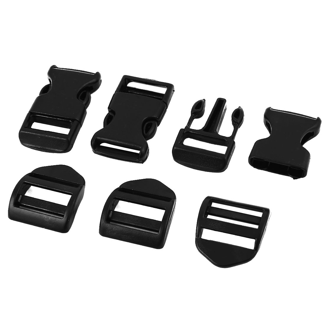 Luggage 3.0cm Wide Black Hard Plastic Backpack Band Safety Side Quick Release Buckle Snap Clip 3 Pcs