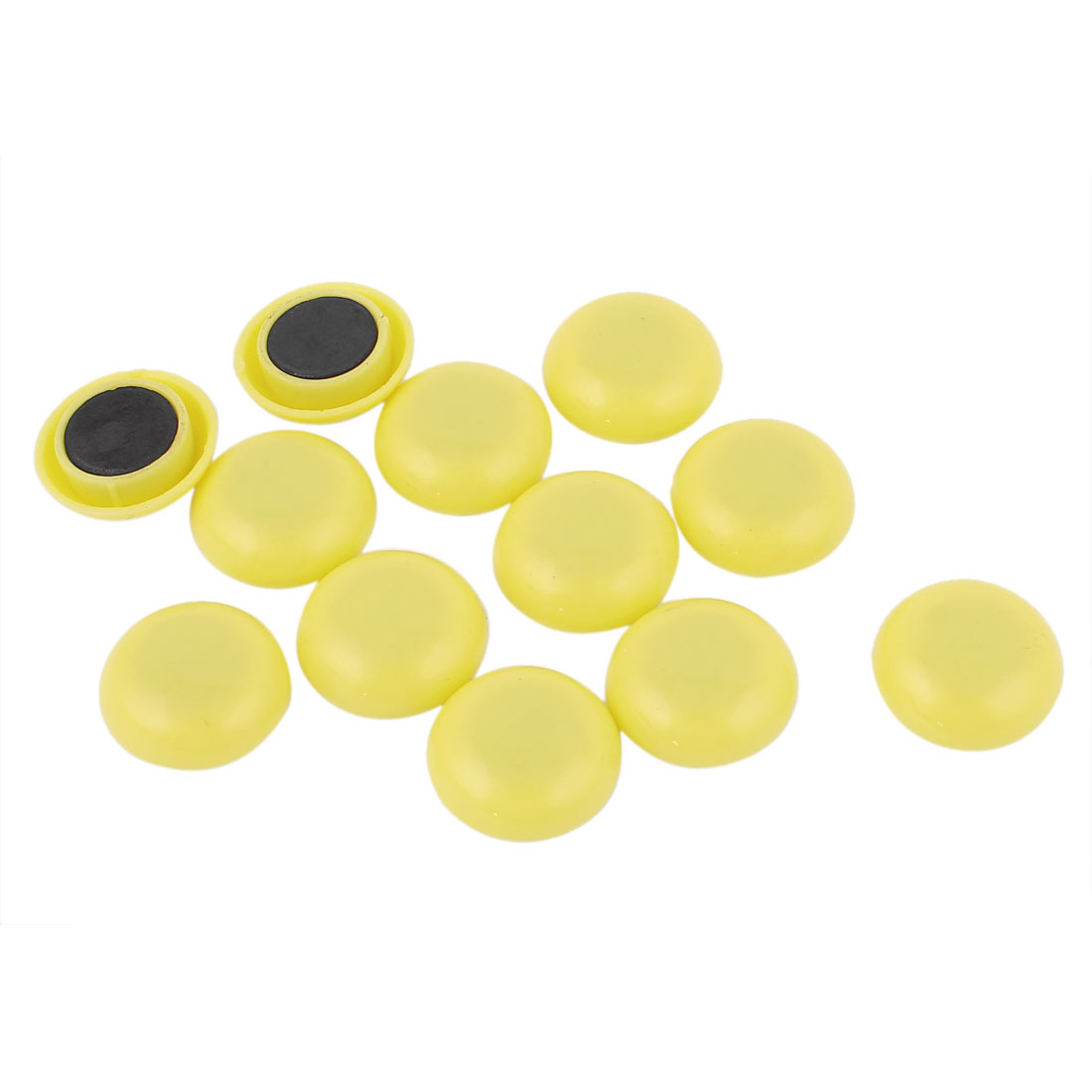 Home Office Round Yellow Blackboard Fridge Magnetic Stickers 12Pcs