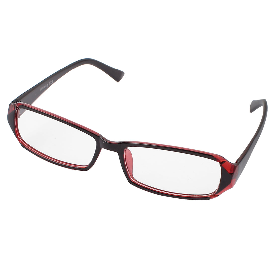Plastic Plain Glass Spectacles Orange Red Rectangular Frame