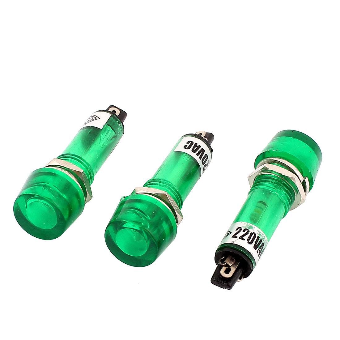 3 Pcs AC 220V Green Round Cap 2 Terminal Signal Lamp Indicator Lights