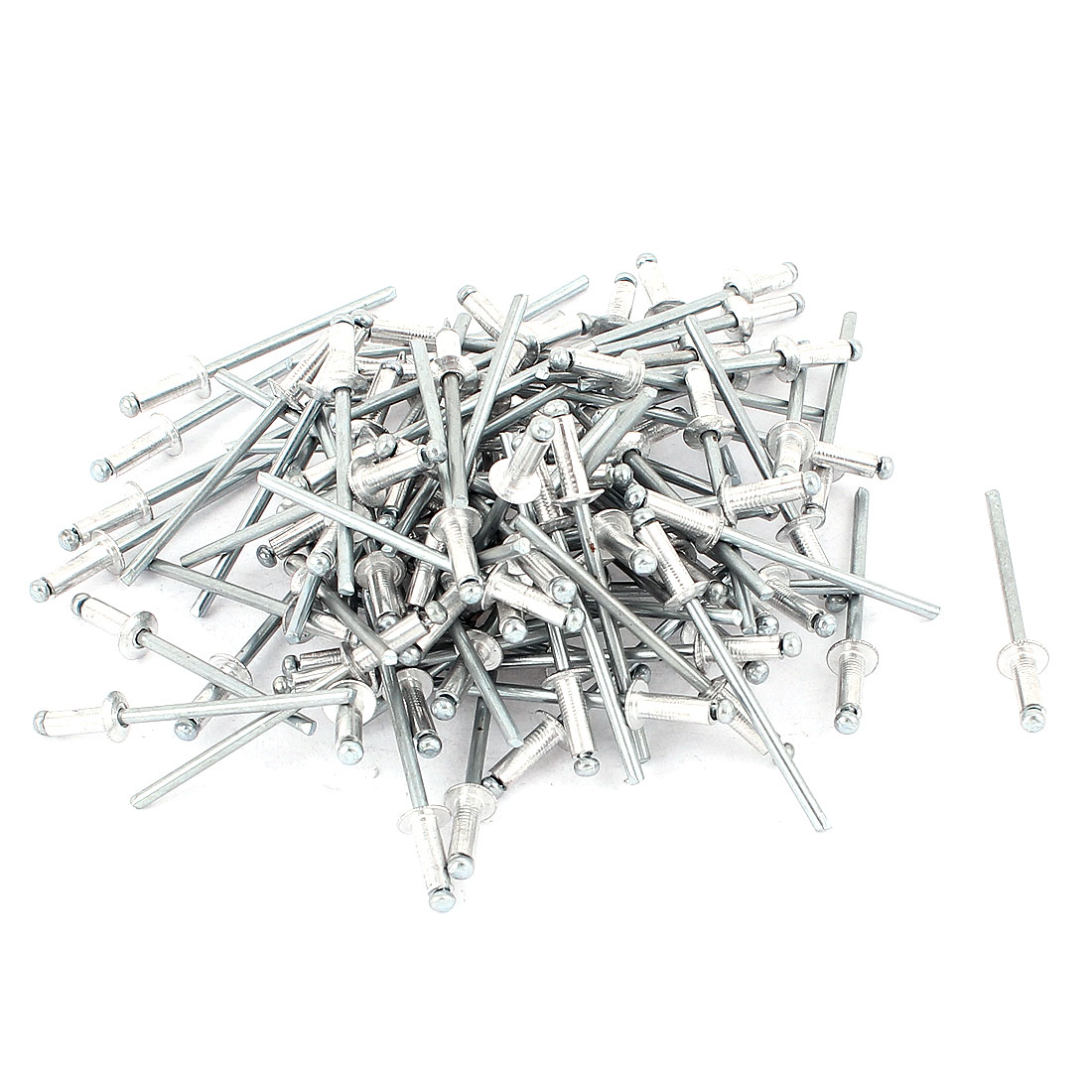 100 Pcs 3mm x 9mm Large Flange Aluminium Blind Pop Rivets