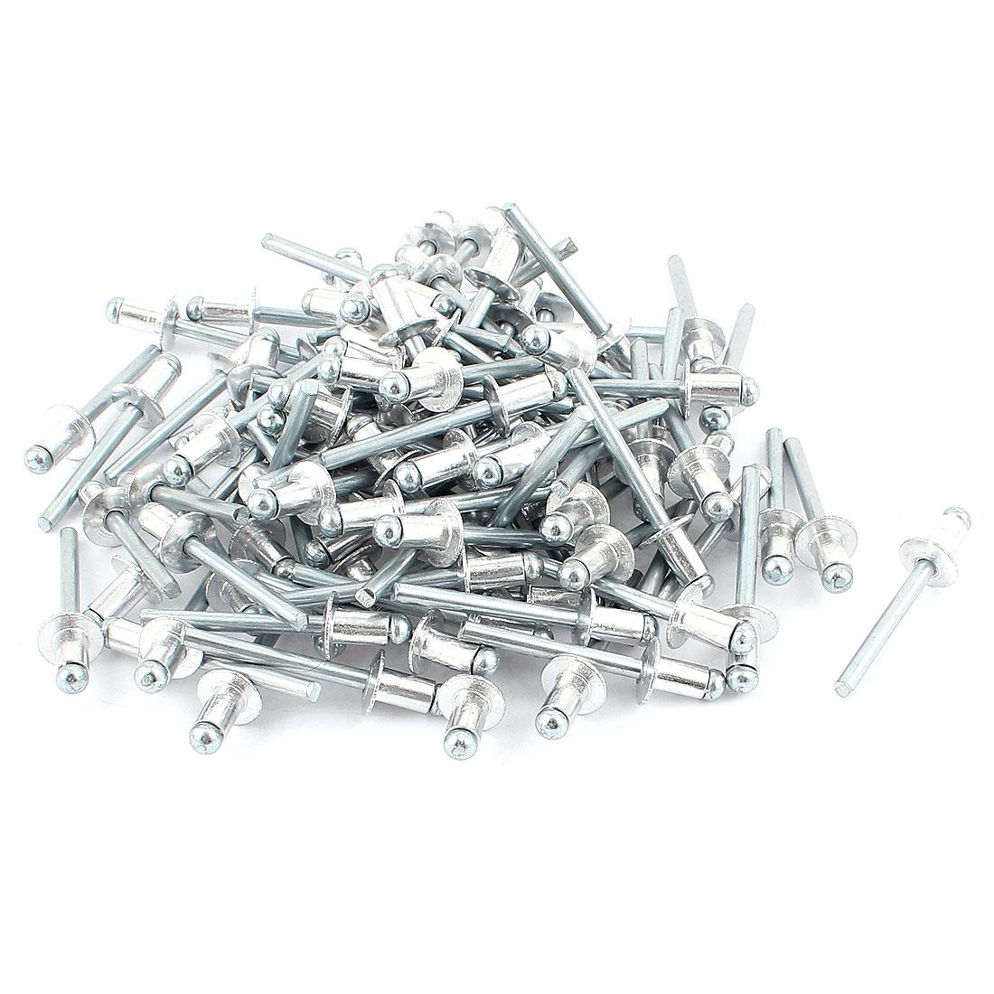 100 Pcs 6mm x 10mm Aluminium Open Dome Blind Pop Rivets 12mm