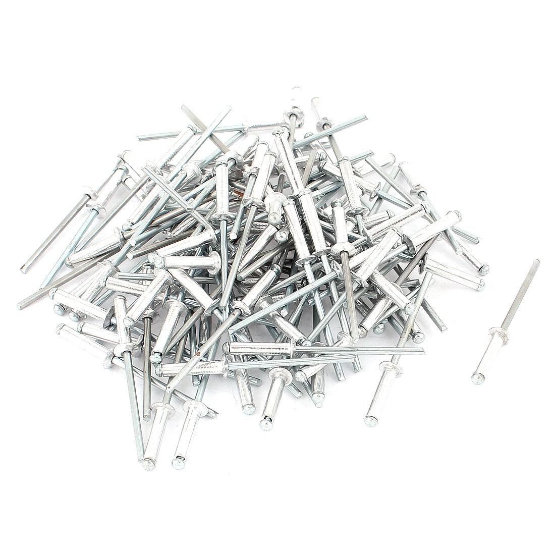 100 Pcs 3.2mm x 15mm Aluminium Open End Dome Head Blind Rivets