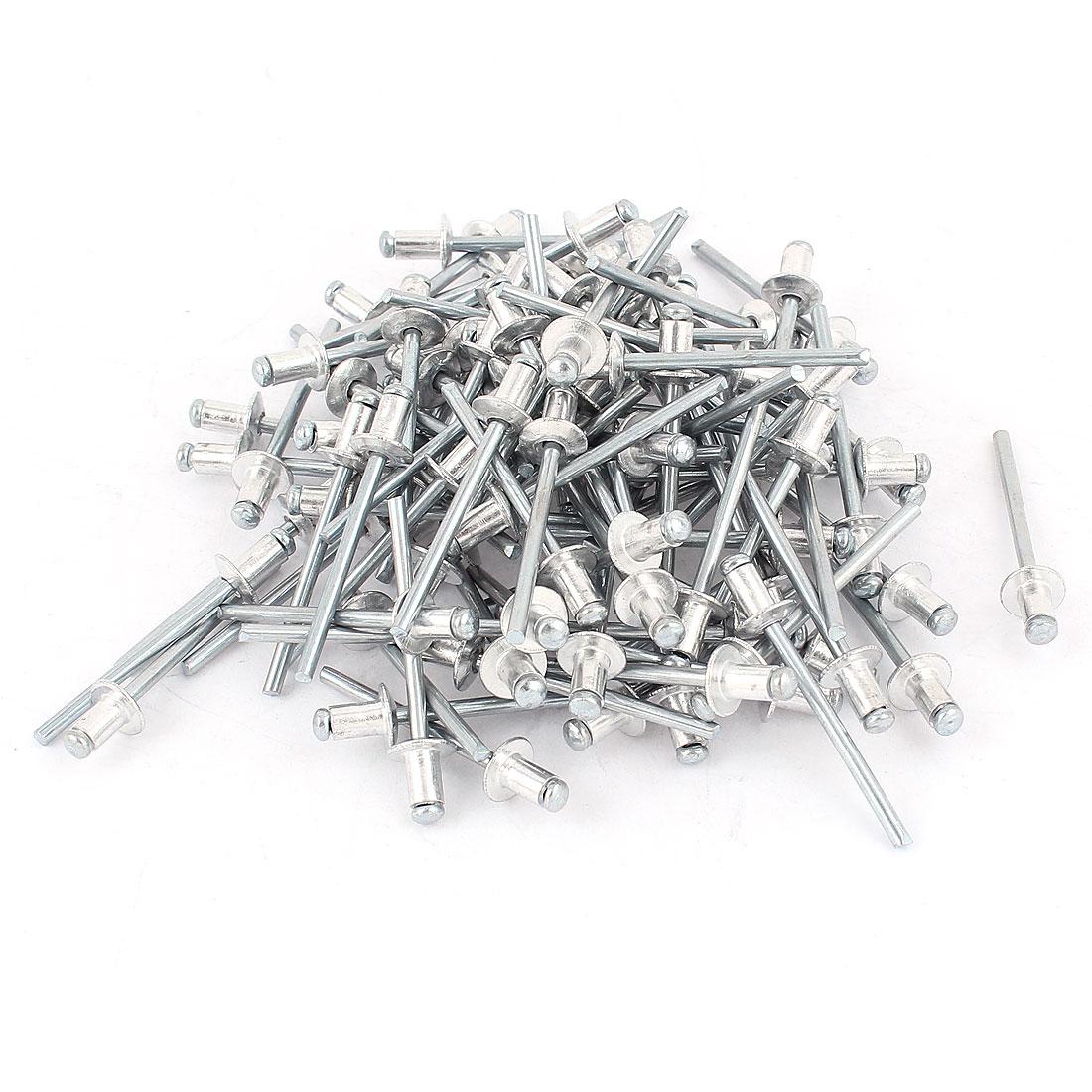 100Pcs 3.6mm x 7mm Large Flange Aluminium Open End Dome Blind Rivets