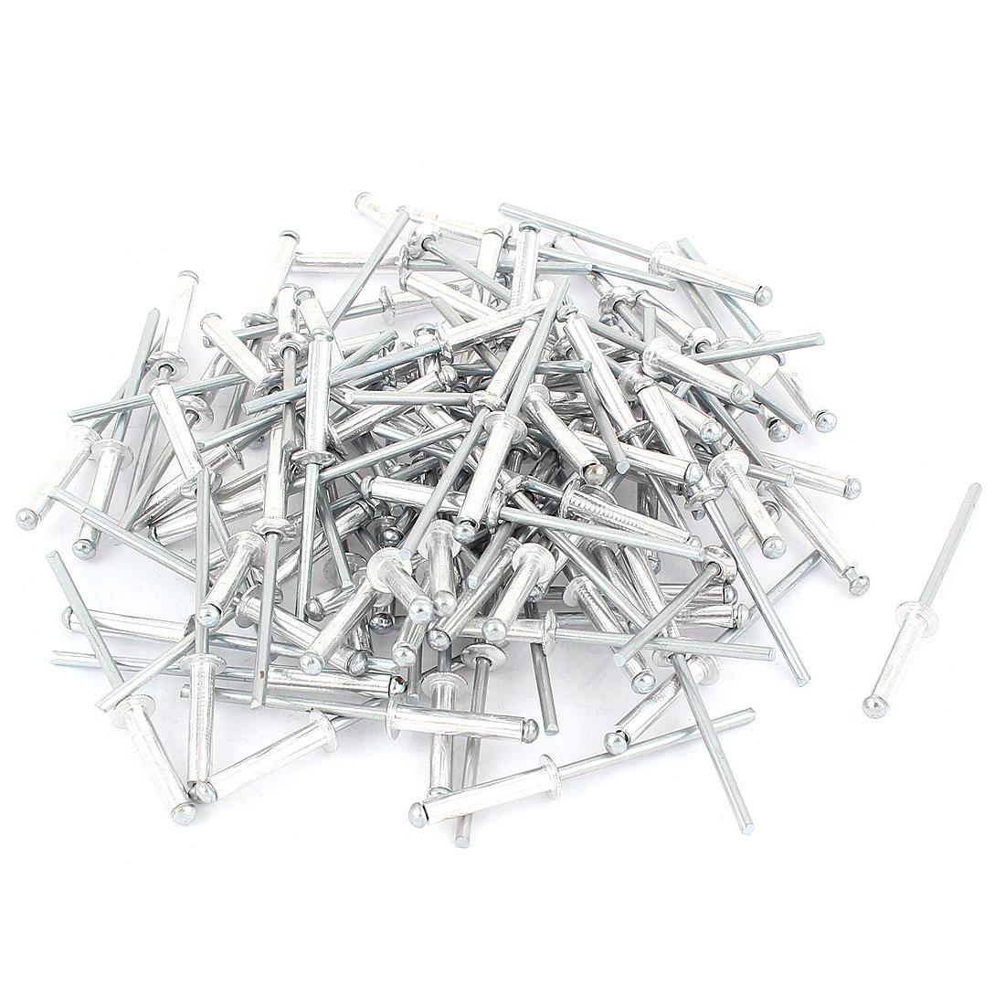 """100 Pcs 1/8"""" Large Flange Aluminium Open End Dome Head Blind Rivets"""
