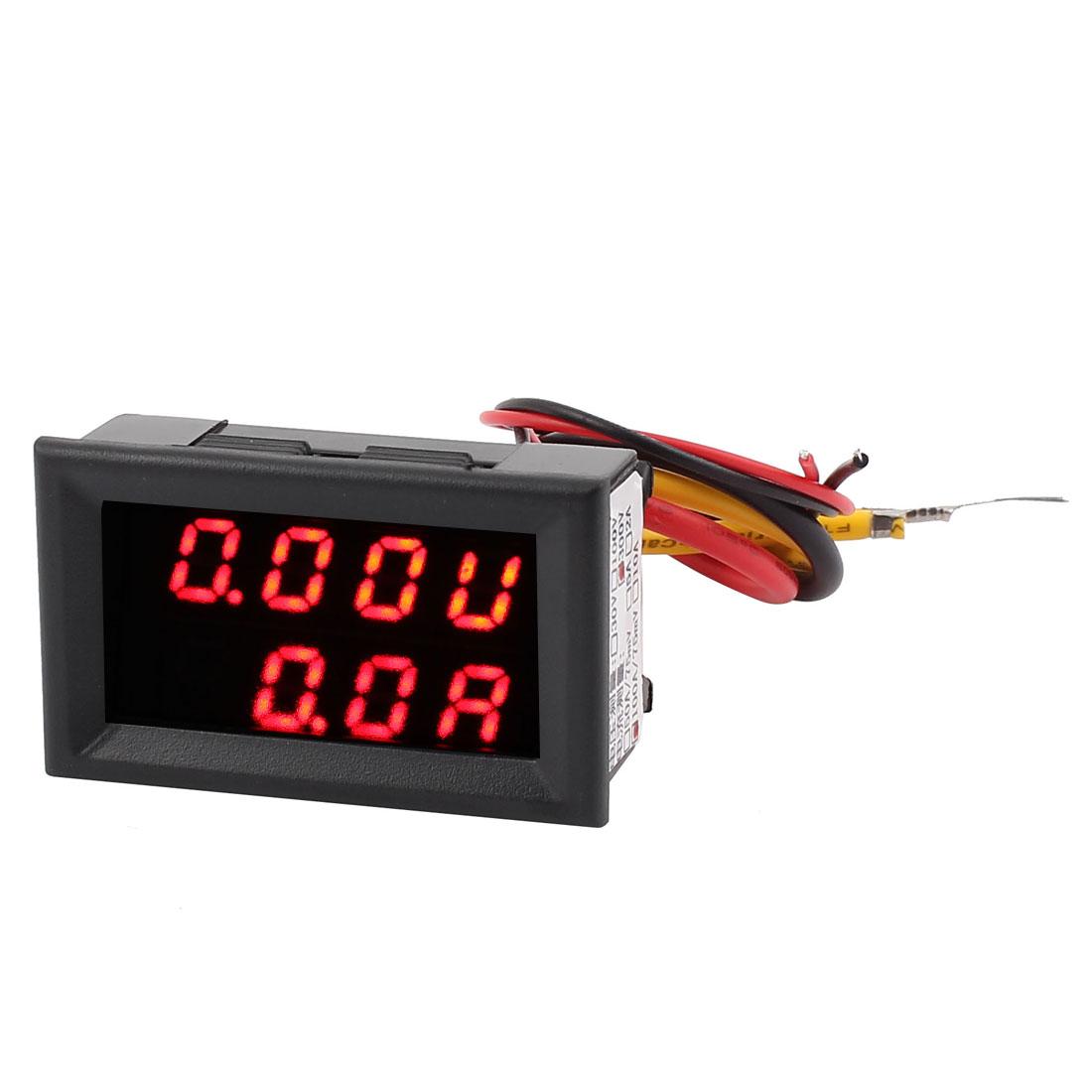 DC 0-300V 0-100A Red LED Dual Digital Panel Voltmeter Ammeter Meter Gauge