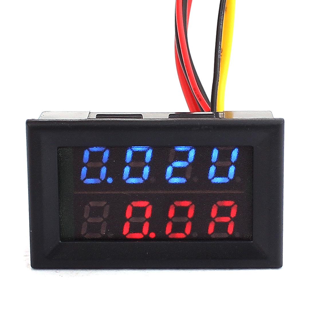 DC 0-300V 0-100A Blue Red LED Dual Digital Display Panel Voltmeter Ammeter Meter