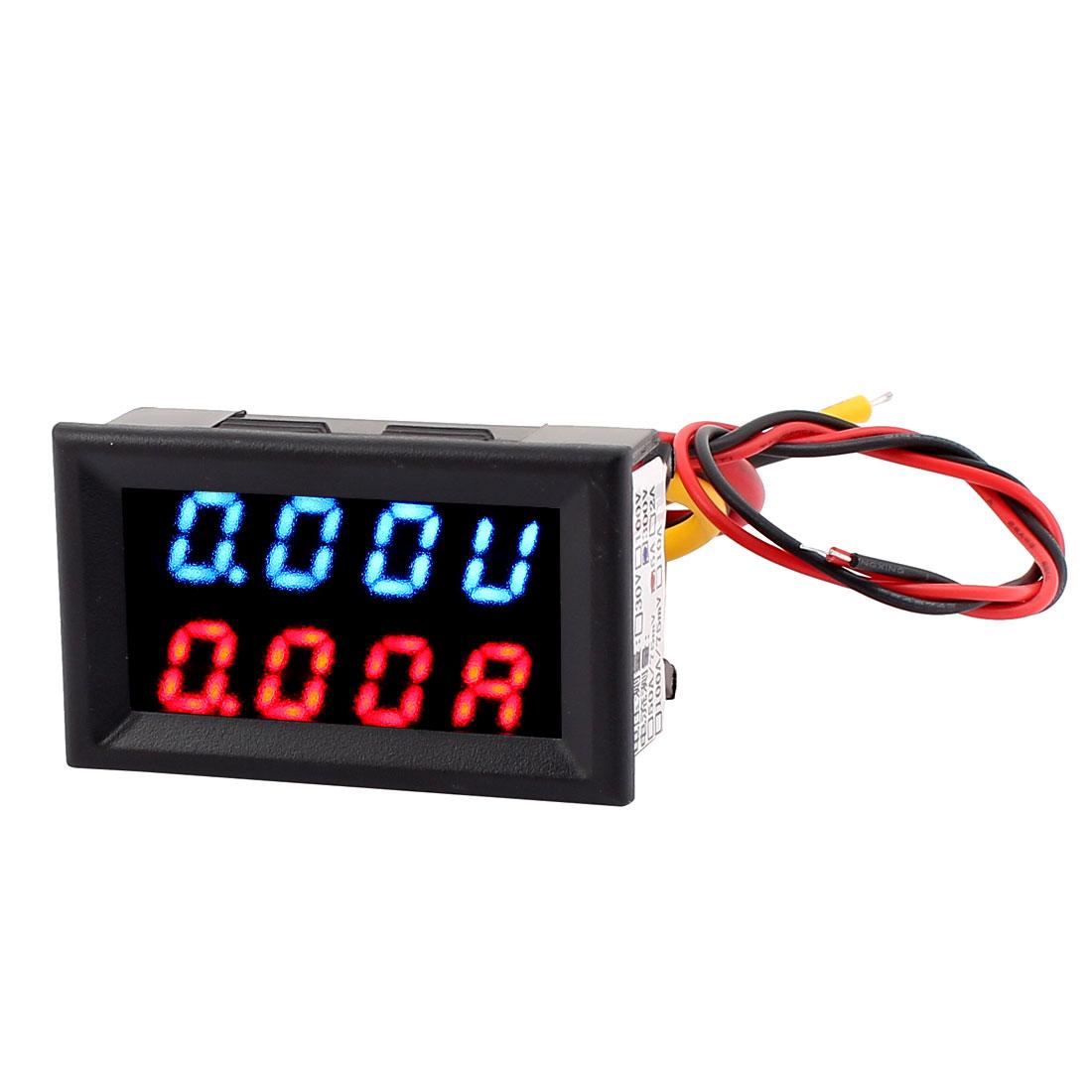 DC 0-300V 0-5A Blue Red LED Dual Digital Panel Voltmeter Ammeter Meter New