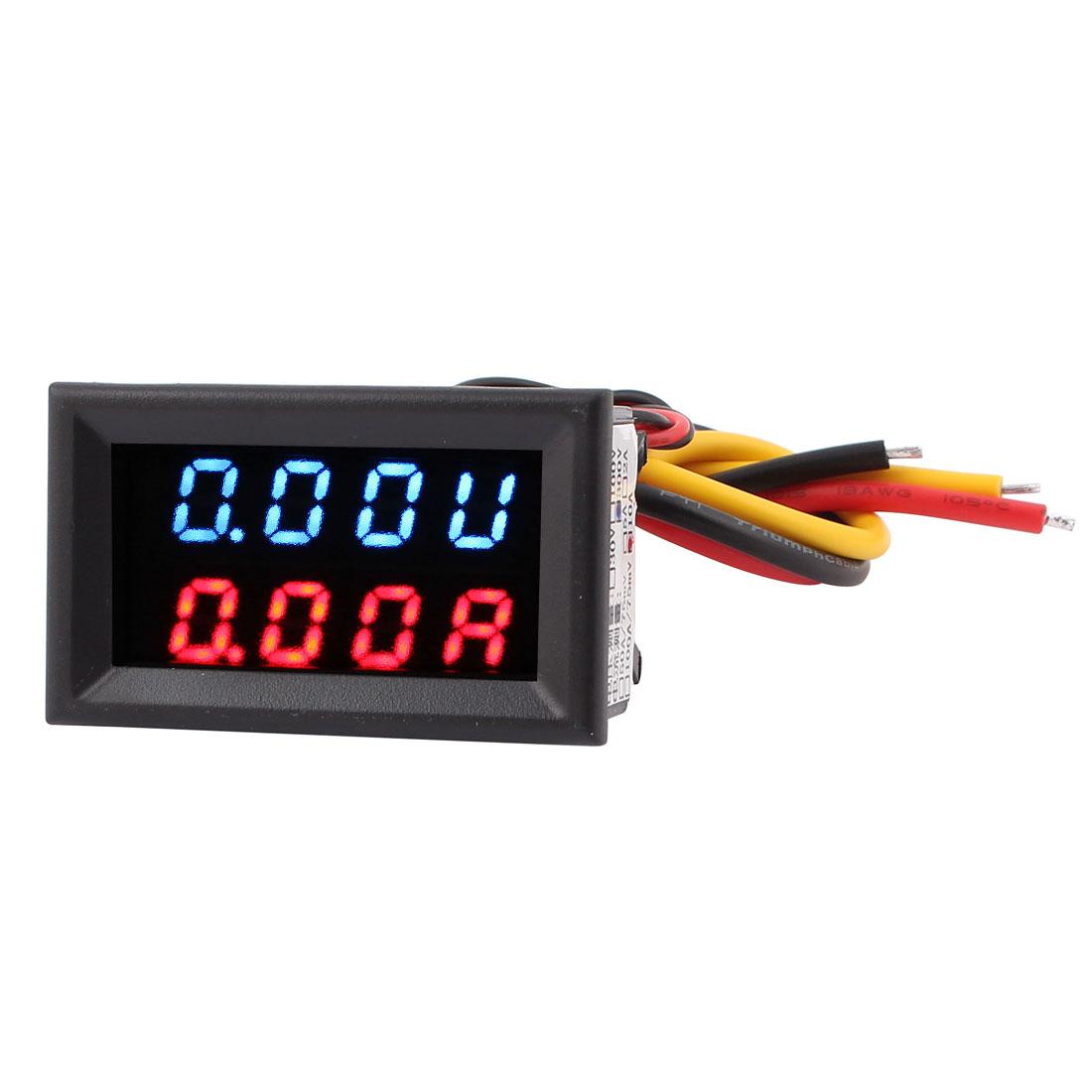 DC 0-300V 0-10A Blue Red LED Dual Digital Panel Voltmeter Ammeter Meter Gauge