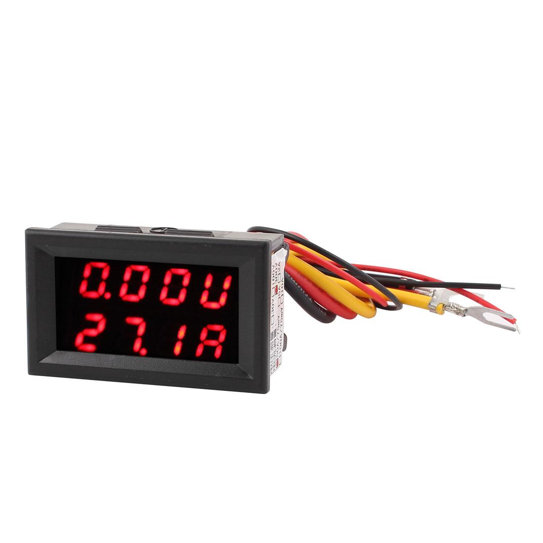 DC 0-300V 0-50A Red LED Dual Digital Display Panel Voltmeter Ammeter Meter