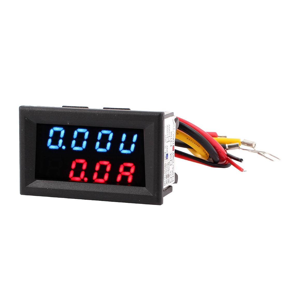 DC 0-30V 0-100A Blue Red LED Dual Digital Display Panel Voltmeter Ammeter Meter