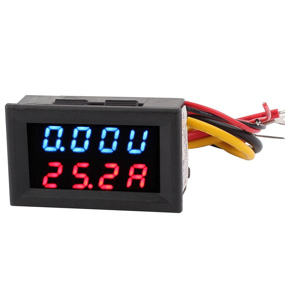 DC 0-30V 0-50A Blue Red LED Dual Digital Display Panel Voltmeter Ammeter Meter