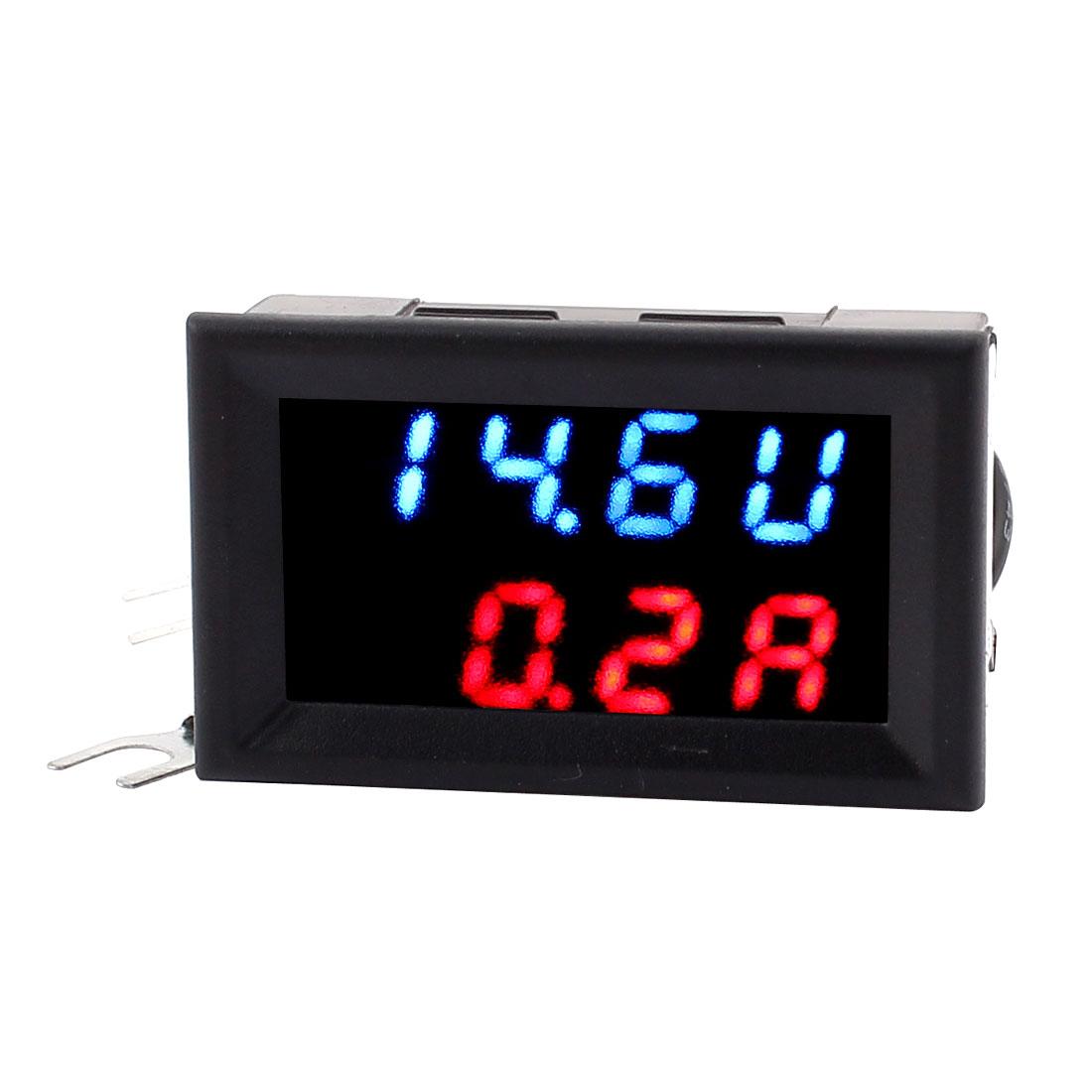 DC 0-30V 0-50A Blue Red LED Dual Digital Panel Voltmeter Ammeter Meter 2IN1