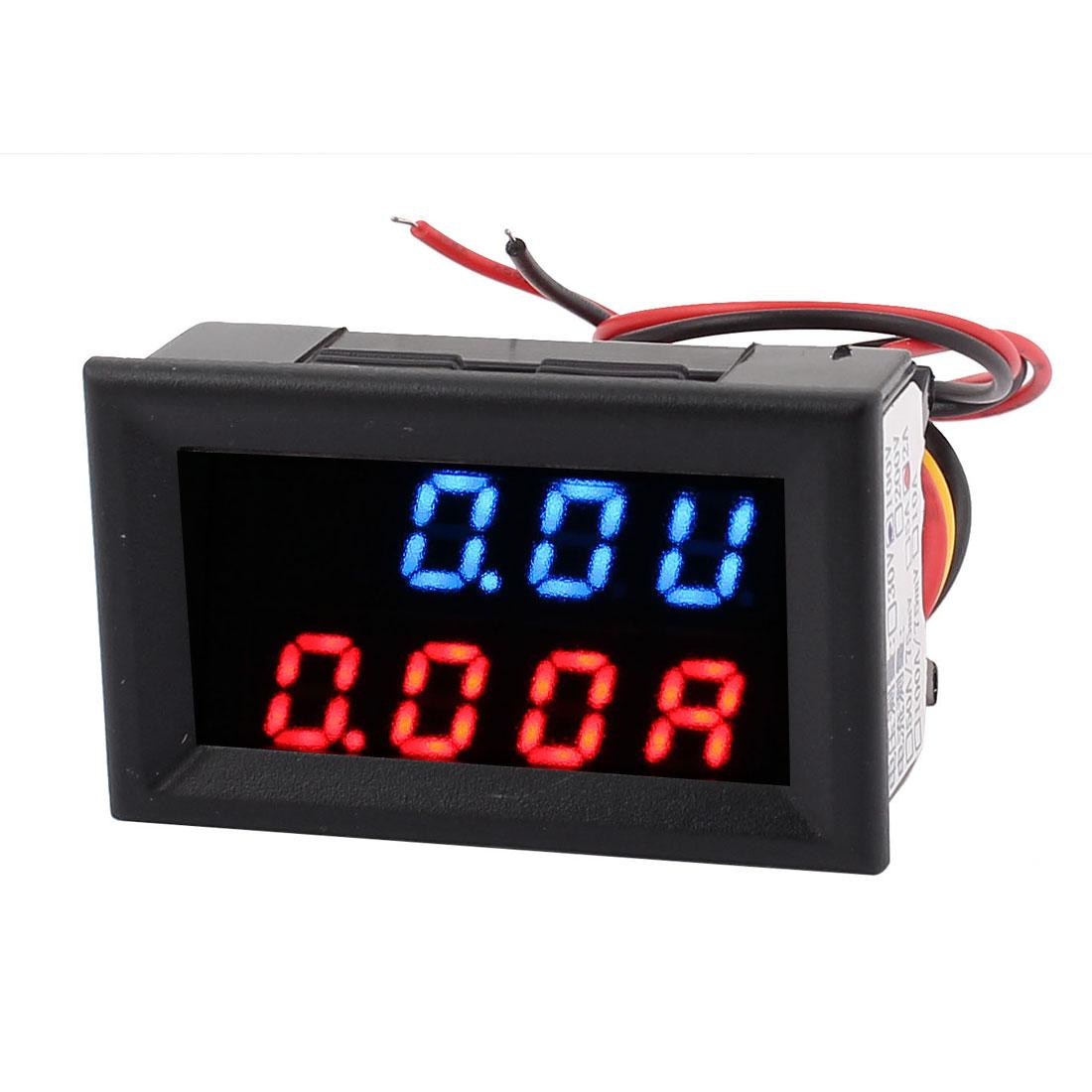 DC 0-100V 0-2A Blue Red LED Dual Digital Display Panel Voltmeter Ammeter Meter