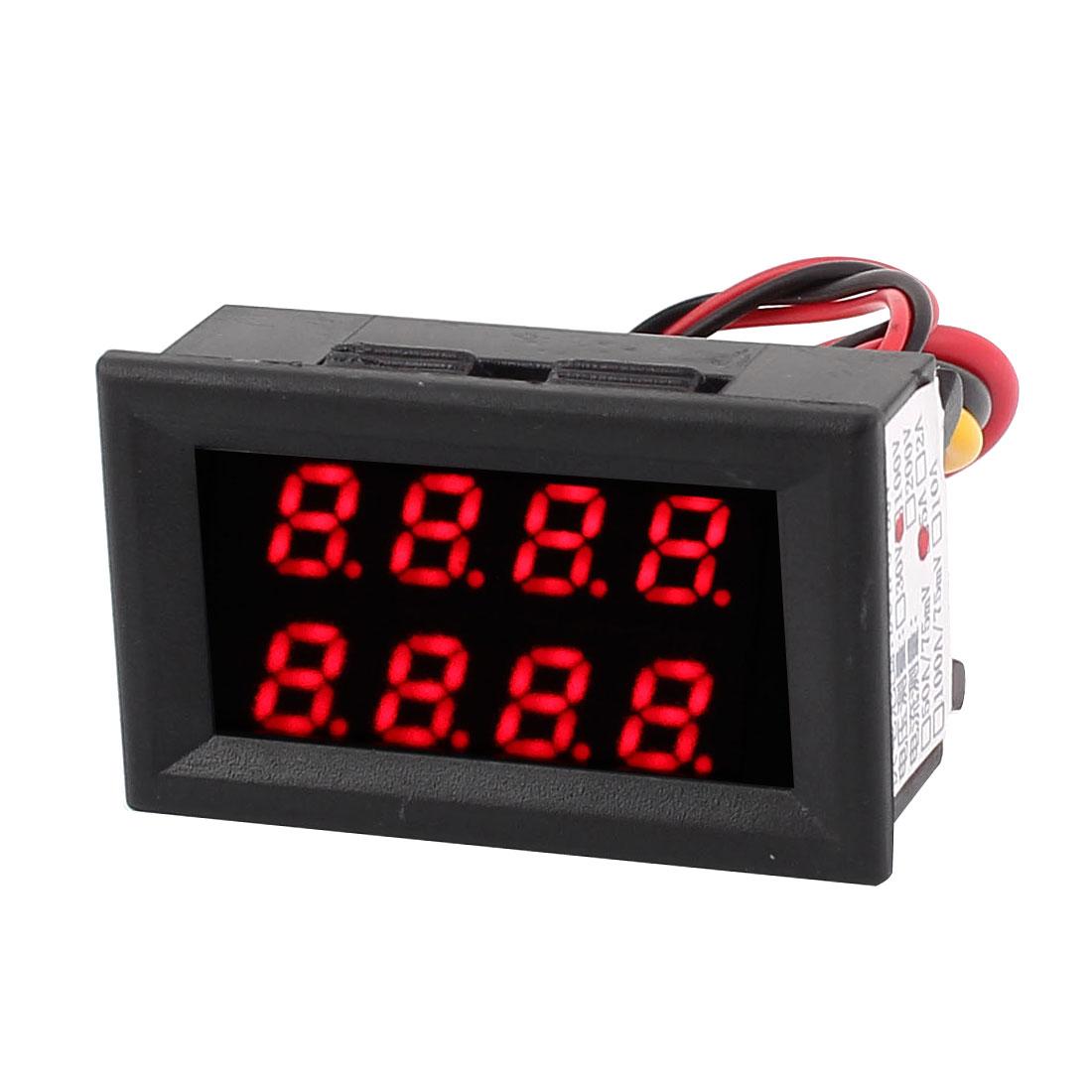 DC 0-100V 0-5A Red Red LED Dual Digital Panel Voltmeter Ammeter Meter Gauge