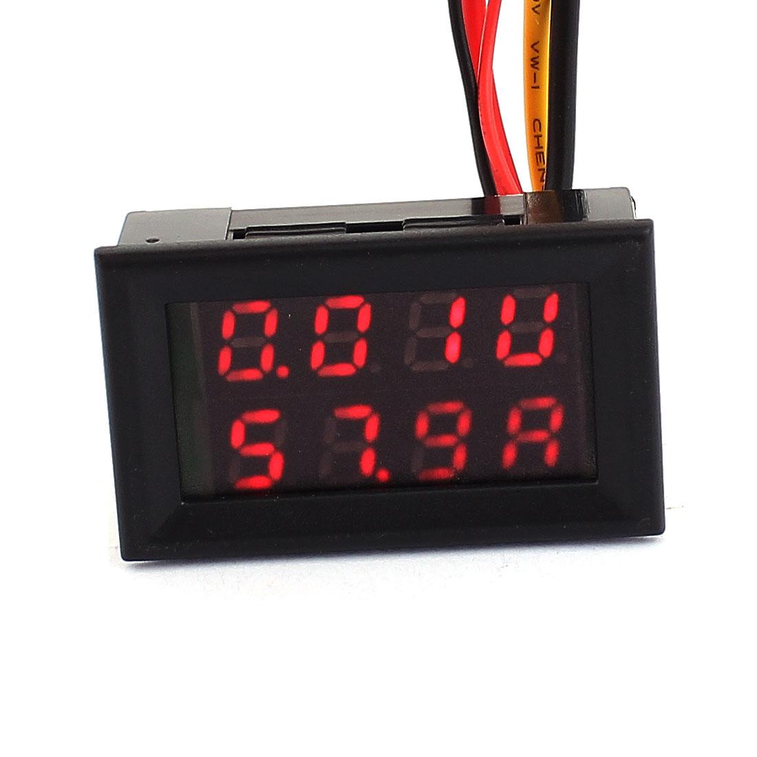 DC 0-100V 0-100A Red Red LED Dual Digital Display Panel Voltmeter Ammeter Meter