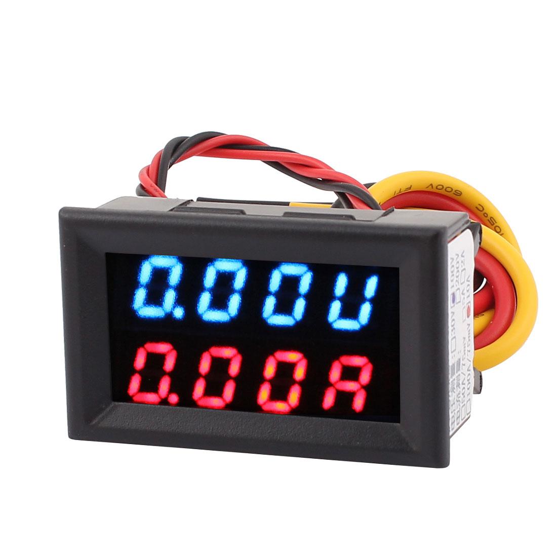 DC 0-100V 0-10A Blue Red LED Dual Digital Panel Voltmeter Ammeter Meter Gauge