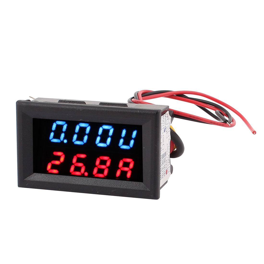 DC 0-200V 0-50A Blue Red LED Dual Digital Display Panel Voltmeter Ammeter Meter