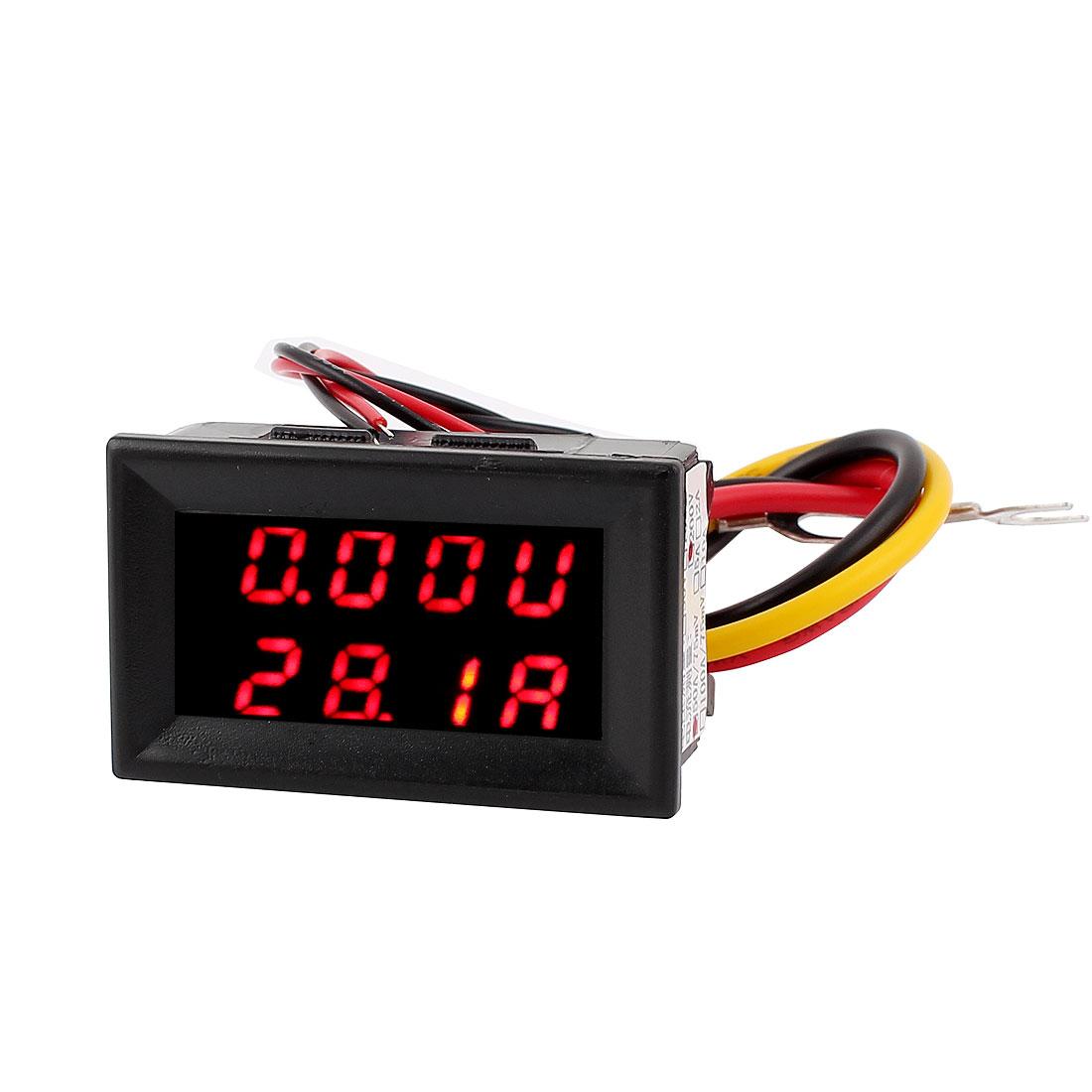 DC 0-200V 0-50A Red LED Dual Digital Display Panel Voltmeter Ammeter Meter