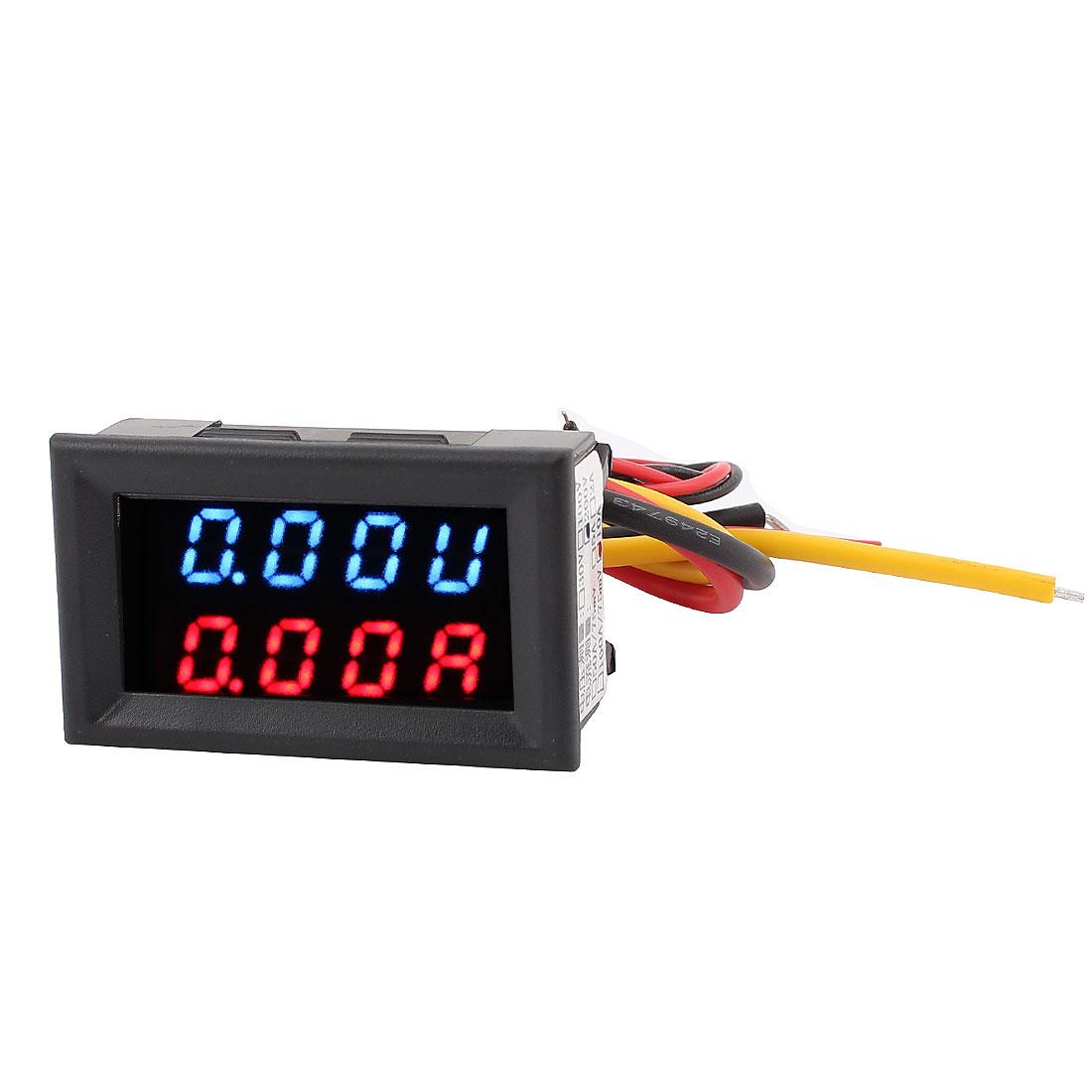DC 0-200V 0-10A Blue Red LED Dual Digital Display Panel Voltmeter Ammeter Meter